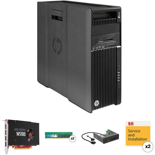 HP Z640 Series Turnkey Workstation with 32GB RAM, FirePro W5100, and 15-in-1 Media Card Reader