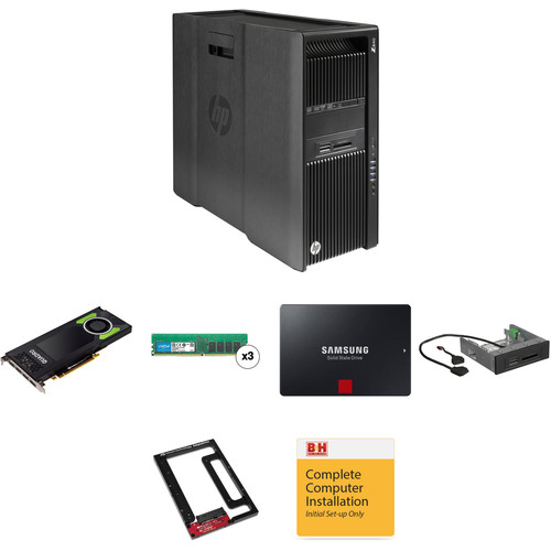 """HP Z840 Series Rackable Minitower Turnkey Workstation with 32GB RAM, 512GB SSD, Quadro M4000, 15-in-1 Media Card Reader, and 2.5"""" to 3.5"""" Drive Converter"""