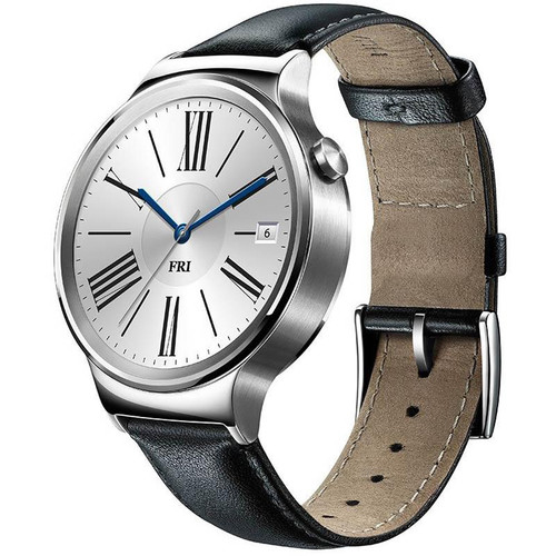 Huawei Watch 42mm Smartwatch (Stainless Steel, Black Leather Band)