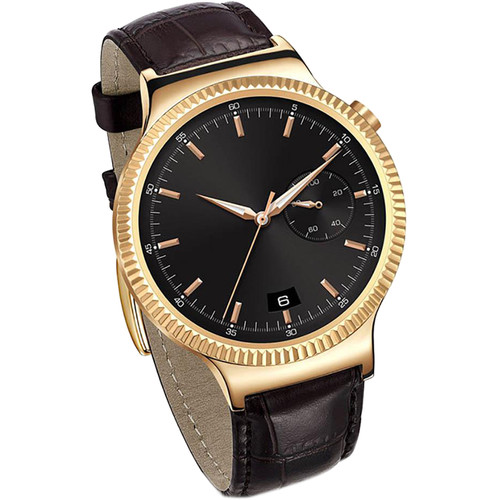 Huawei Watch 42mm Smartwatch (Rose Gold Stainless Steel, Brown Leather Band)