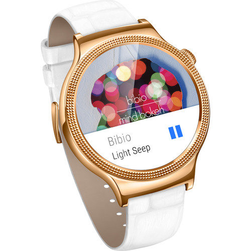 Huawei Watch Elegant Women's 44mm Smartwatch (Rose Gold Stainless Steel, White Italian Leather Band)