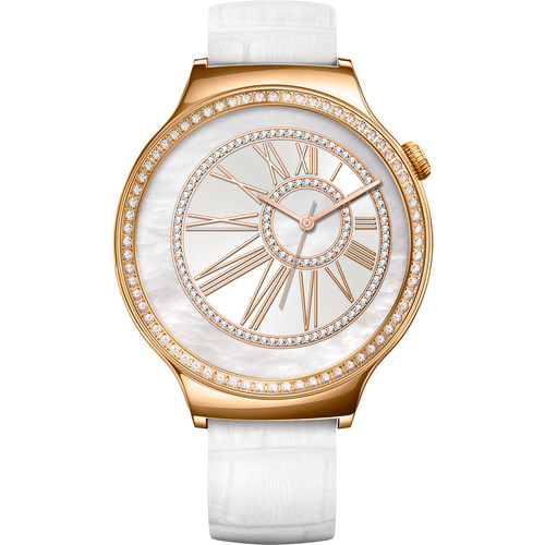 Huawei Watch Jewel Women's 44mm Smartwatch (Rose Gold Stainless Steel Encircled with Swarovski Zirconia, White Italian Leather Band)
