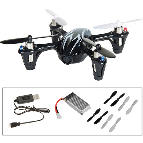HUBSAN X4 H107C-HD Quadcopter with Spare Battery, Props and Changer Kit (Black/White)