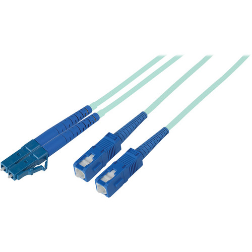 Camplex Duplex LC to Duplex SC Multimode Fiber Optic Patch Cable (16.4', Aqua)
