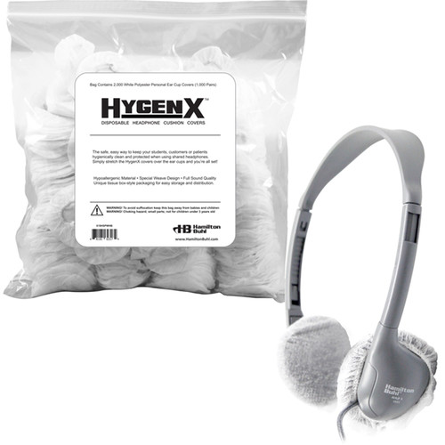 HamiltonBuhl HygenX Personal Disposable Ear Cushion Covers for On-Ear Headphones & Headsets (White, 1000 Pair)