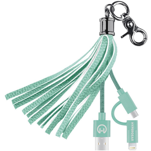 HyperGear Hybrid Charging Cable Tassel Keychain (Teal)