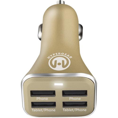 HyperGear 4-Port USB Car Charger (Gold)