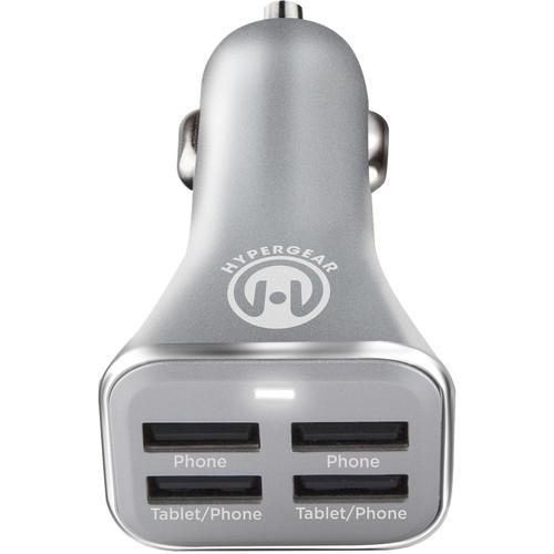 HyperGear 4-Port USB Car Charger (Silver)