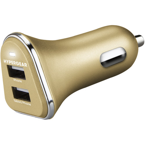HyperGear 2-Port USB Mini 2.4A Car Charger (Gold)