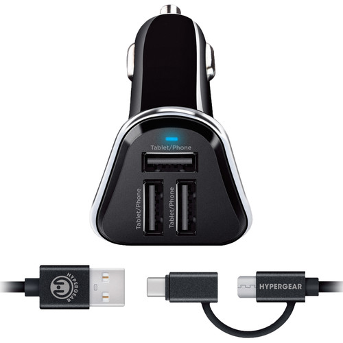 HyperGear 7.2A Triple USB Type-A Car Charger with Hybrid Cable (4', Black)