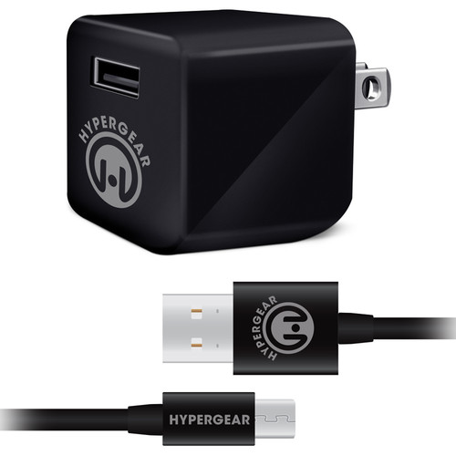 HyperGear Rapid Wall Charger with Micro-USB Cable (4', Black)