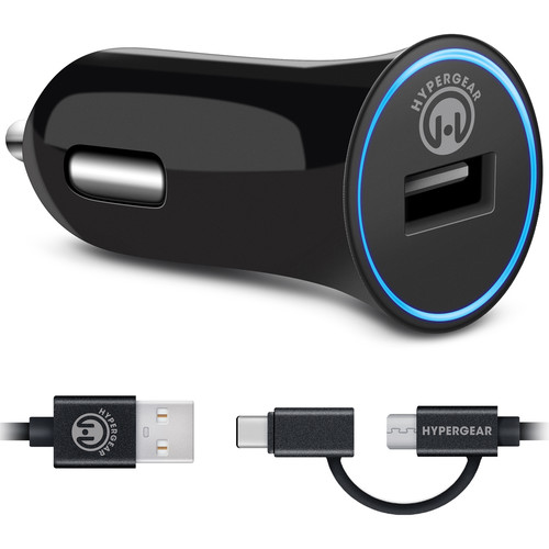 HyperGear Rapid 2.4A USB Car Charger with Hybrid Micro-USB to USB Type-C Cable