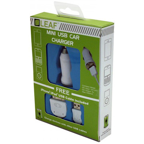 HYPERKIN Leaf Mini USB Car Charger with Cable for iPhone/iPad/iPod/Android/Blackberry