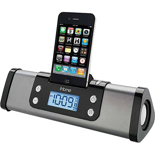 iHome iP16 Portable Alarm Clock Stereo Speaker System for iPhone or iPod (Gunmetal)