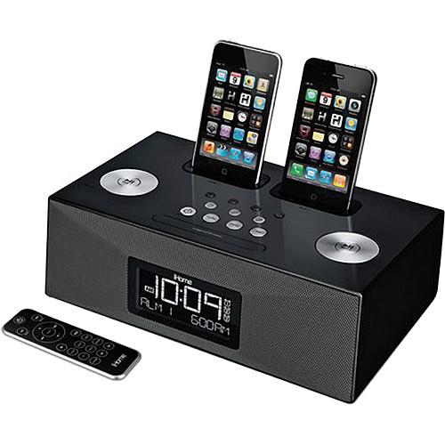 ihome ip86 dual dock alarm clock radio for iphone ipod ip86bzc. Black Bedroom Furniture Sets. Home Design Ideas