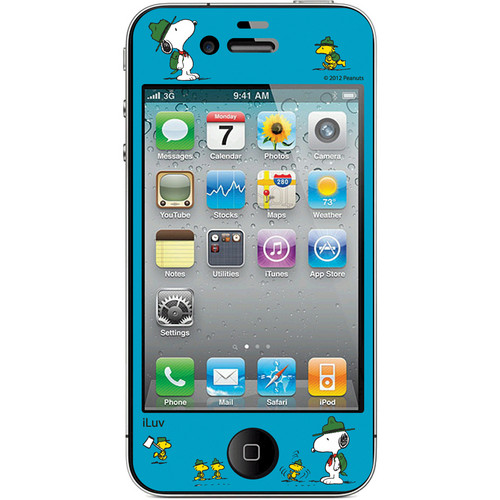 iLuv Snoopy Deco Film - Protective Film With Peanuts Design for iPhone 4S / 4 (Blue)