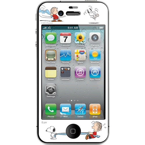 iLuv Snoopy Deco Film - Protective Film With Peanuts Design for iPhone 4S / 4 (White)