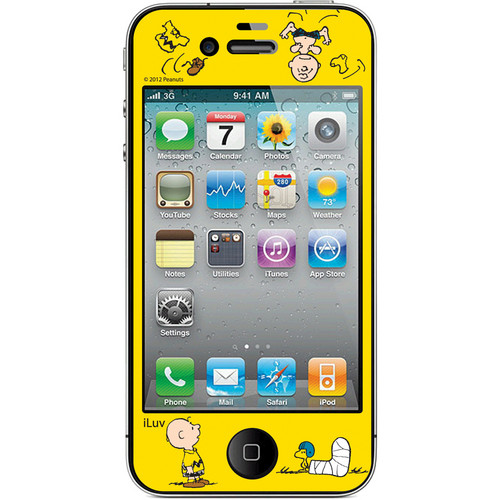 iLuv Snoopy Deco Film - Protective Film With Peanuts Design for iPhone 4S / 4 (Yellow)