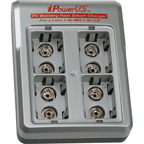 iPower FC-9VX44 Fast Smart 9V 4-Bay Charger with Four 9V Batteries