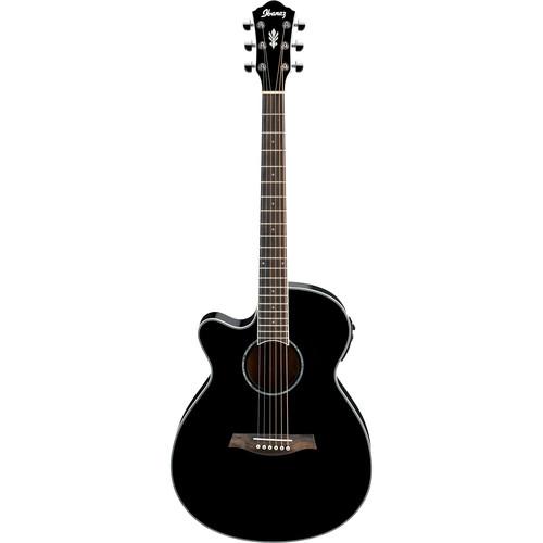 Ibanez AEG10LII Acoustic/Electric Guitar (Black, Left-Handed)