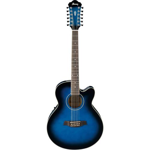 Ibanez AEL1512E Acoustic/Electric 12-String Guitar (Transparent Blue Sunburst)
