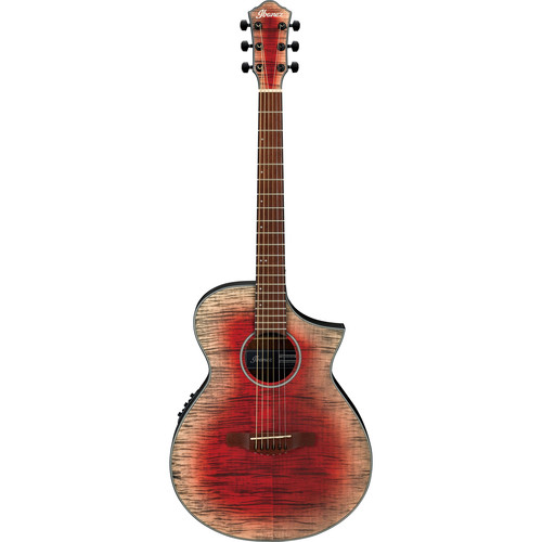 Ibanez AEWC32FM AEW Series Acoustic/Electric Guitar (Glacier Red, Low Gloss)