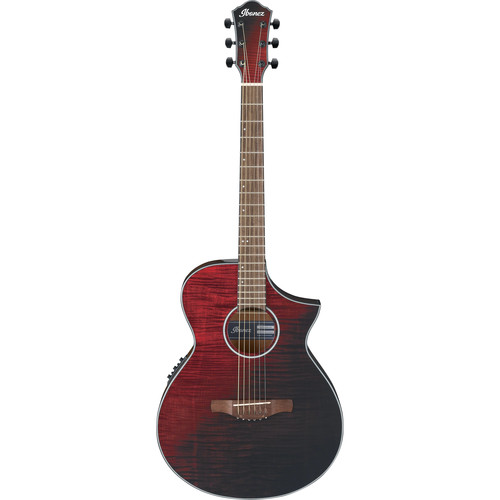 Ibanez AEWC32FM AEW Series Acoustic/Electric Guitar (Red Sunset Fade)