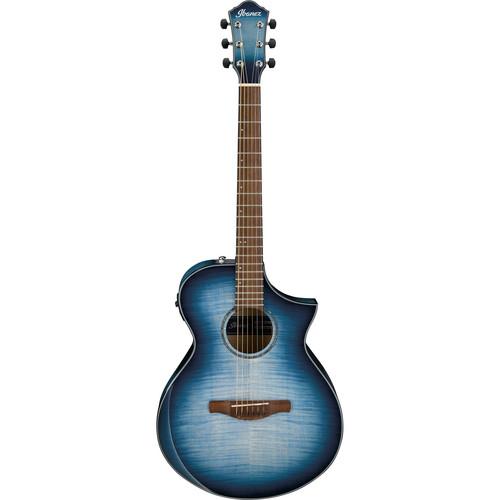 Ibanez AEWC400 AEW Series Acoustic/Electric Guitar (Indigo Blue Burst High Gloss)