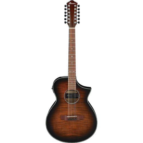 Ibanez AEWC4012FM AEW Series 12-String Acoustic/Electric Guitar (Tiger Burst High Gloss)