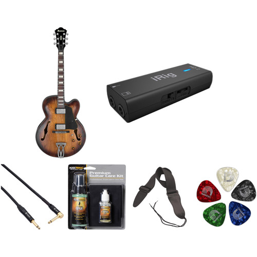 Ibanez AFV10A Artcore Vintage Series Hollow-Body Electric Guitar Starter Recording Kit (Tobacco Burst Low Gloss)