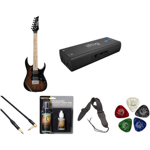 Ibanez GRGM21M miKro Series Electric Guitar Starter Recording Kit (Walnut Sunburst)