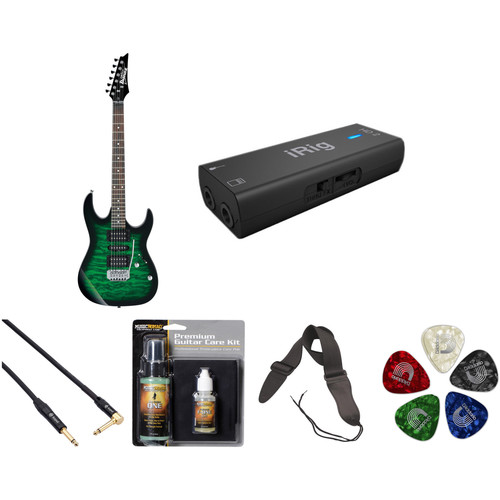 Ibanez GRX70QA GIO Series Electric Guitar Starter Recording Kit (Transparent Emerald Burst)