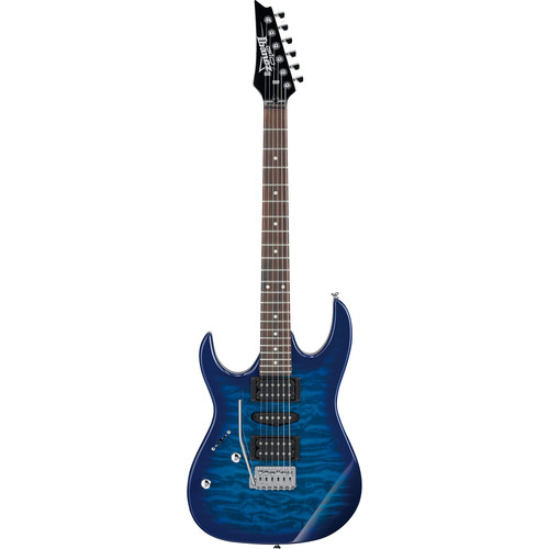 Ibanez GRX70QAL RG GIO Series Electric Guitar (Transparent Blue Burst, Left-Handed)