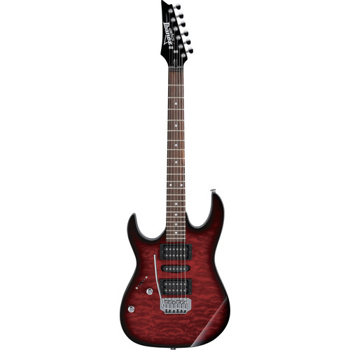 Ibanez GRX70QAL GIO Series Electric Guitar (Transparent Red Burst, Left-Handed)