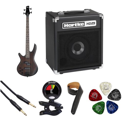 Ibanez GSR200BL GIO Series Electric Bass Starter Kit (Left-Handed, Walnut Flat)