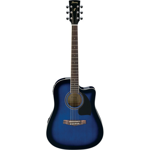 Ibanez PF15ECE PF Performance Series Acoustic/Electric Guitar (Transparent Blue Sunburst)