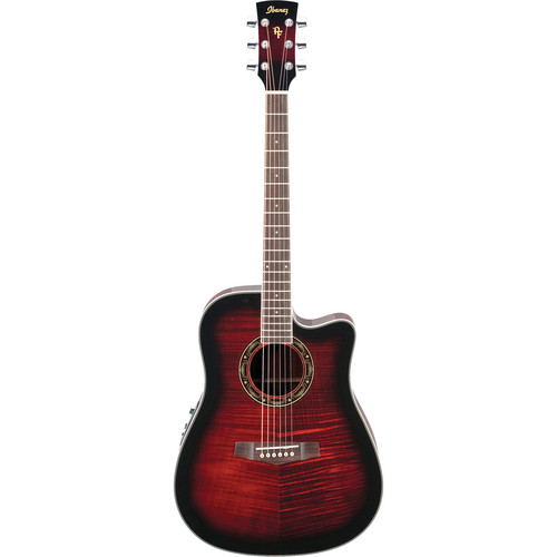 Ibanez PF28ECE PF Performance Series Acoustic/Electric Guitar (Transparent Red Sunburst)