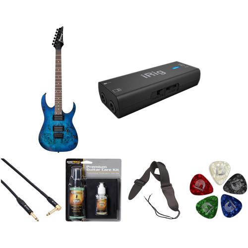 Ibanez RG421PB RG Standard Series Electric Guitar Starter Recording Kit (Sapphire Blue Flat)