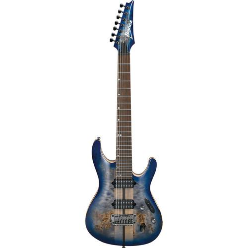 Ibanez S1027PBF S Premium Series 7-String Electric Guitar (Cerulean Blue Burst)