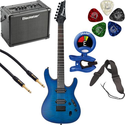 Ibanez S621QM S-Standard Series Electric Guitar Starter Kit (Sapphire Blue Flat)