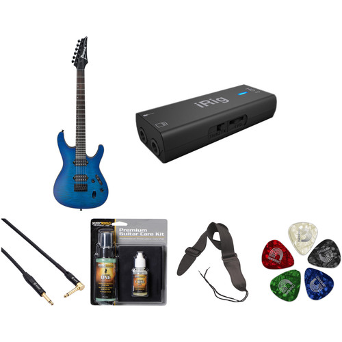 Ibanez S621QM S-Standard Series Electric Guitar Recording Starter Kit (Sapphire Blue Flat)