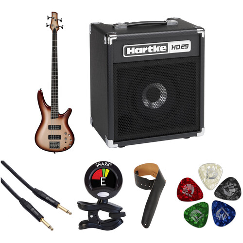 Ibanez SR300E SR Standard Series Electric Bass Guitar Starter Kit (Charred Champagne Burst)