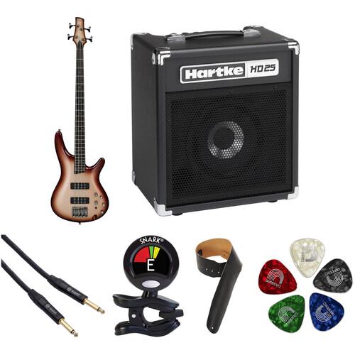 Ibanez SR300E SR Standard Series Electric Bass Guitar Starter Kit (Charred Champagne Burst)