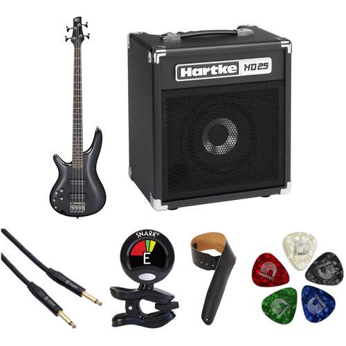 Ibanez SR300EL SR Standard Series Electric Bass Guitar Starter Kit (Left-Handed, Iron Pewter)