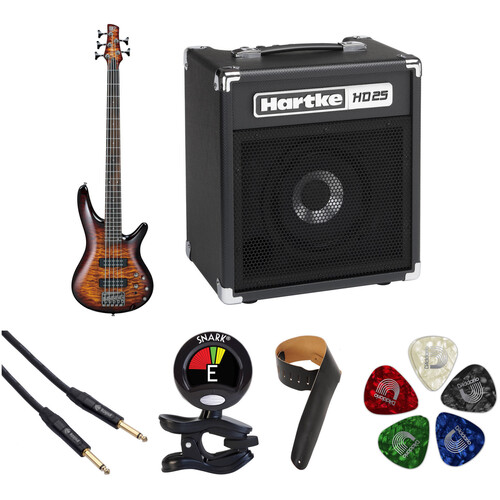 Ibanez SR405EQM SR Standard Series 5-String Electric Bass Starter Kit (Dragon Eye Burst)