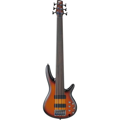 Ibanez SR Series SRF706 Bass Workshop 6-String Fretless Electric Bass Guitar (Brown Burst Flat)