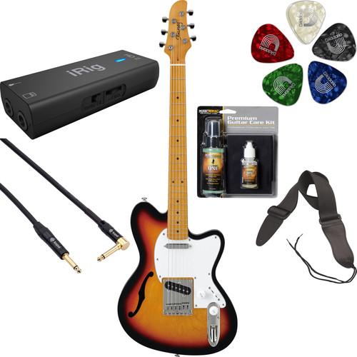 Ibanez TM302HM Talman Standard Series Semi-Hollow Electric Guitar Recording Starter Kit (Tri-Fade Burst)