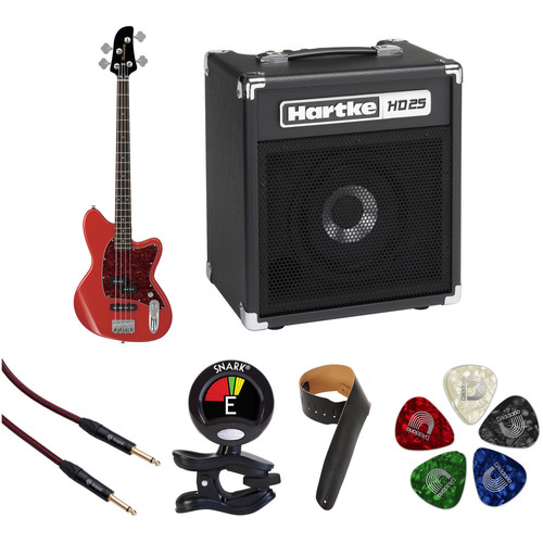 Ibanez TMB100 Talman Bass Standard Series Electric Bass Guitar Starter Kit (Coral Red)