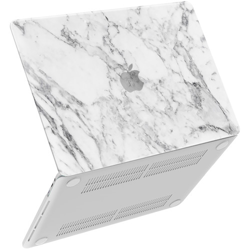 """iBenzer Plastic Hard Case Apple MacBook Pro 15"""" with/without Touch Bar and Touch ID (White Marble)"""