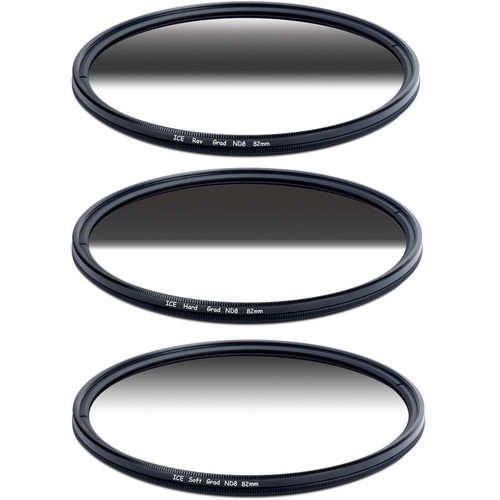 Ice 82mm Soft-Edge Graduated, Hard-Edge Graduated, and Reverse-Graduated Neutral Density Filter Kits (3-Stop)